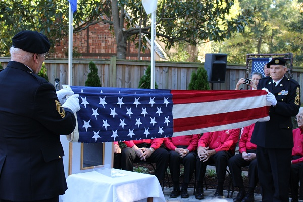 A ceremony to honor Durwood Baggett, and all veterans, was held Wednesday at the New Hanover County Arboretum. The arboretum named its new contemplation garden after Durwood, a World War II veteran who died in August. Photos by Hilary Snow