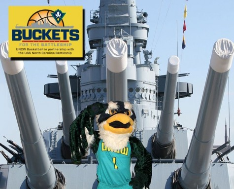 UNCW has teamed up with the Battleship to help raise money for repairs to the vessel docked in downtown Wilmington. Photo courtesy- UNCW sports