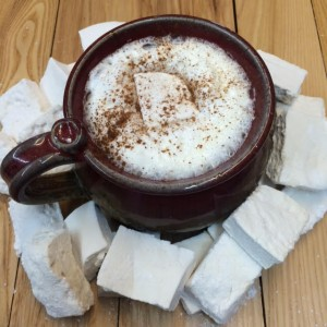 One of The Veggie Wagon's hot chocolate drinks, topped with a homemade local honey marshmallow. Photo courtesy of Max Sussman.