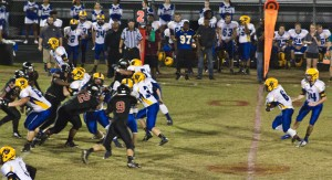 #6 Imeek Watkins (second from right) helped lead Laney's offense against Ashley Friday night. Photo by Hannah Leyva.