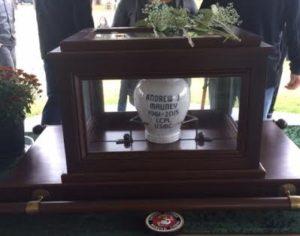 Urn for Lance Cpl. Andrew Mauney
