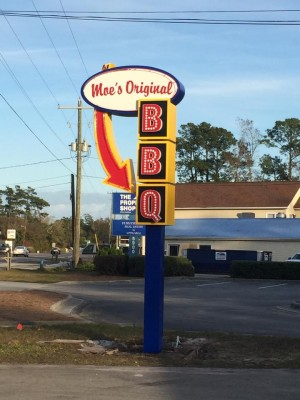 Moe's opened up in the old Flip's Bar-B-Cue House, a longtime local fixture until its closing in 2013.