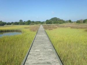 The boardwalk over the salt marsh along Fort Fisher State Recreation Area's Basin Trail. Photo courtesy of Fort Fisher State Recreation Area.