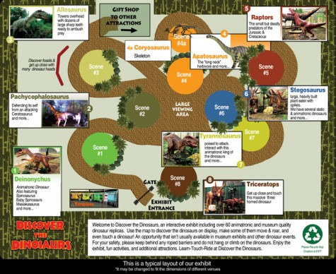 A map shows the typical layout of the touring exhibit, which includes mini-golf, a theater and inflatables.