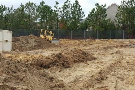 Groundwork is underway between the Ashley baseball and softball fields. Photo courtesy- Ashley Athletics