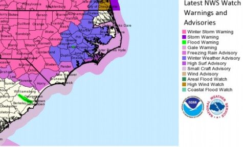 The freezing rain advisory for New Hanover and Brunswick counties was lifted Friday morning. Surrounding counties continue to be under the advisory. Photo courtesy of the National Weather Service.