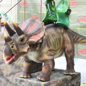 Children and adults can take a 'ride' on a triceratops or T-Rex.