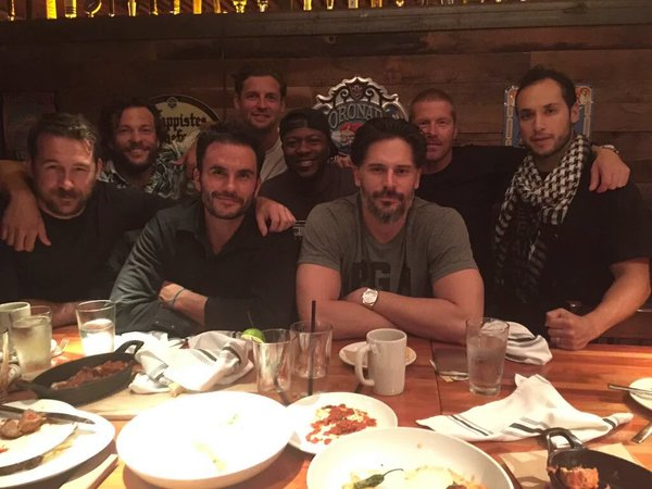Actor Joe Manganiello, front right, is in town for 'Six,' the locally filmed SEAL team drama that began shooting early Monday morning in downtown Wilmington. Courtesy photo.