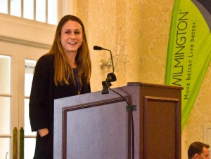USWNT player and former Tar Heel Heather O'Reilly spoke at a Wilmington Hammerheads Youth FC fundraising lunch Friday. Photo by Hannah Leyva.