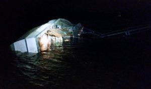 A fishing boat overturned early Tuesday morning near Carolina Beach. Photo courtesy of the U.S. Coast Guard.
