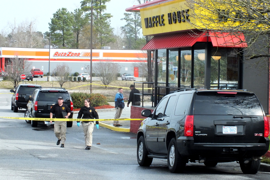 Deputies on the scene of an alleged bomb threat at a Waffle House in the Monkey Junction area on Wednesday. Photo by Christina Haley.