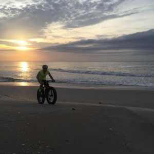 A fat biker riding on the beach. Photo courtesy of Shawn Spencer.