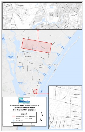 The map shows where instances of discolored water are most likely to occur during a real-world water emergency exercise this month. The highlighted areas are located near CFPUA emergency water system interconnections, which will be used during the exercise. Map courtesy of the CPFUA.
