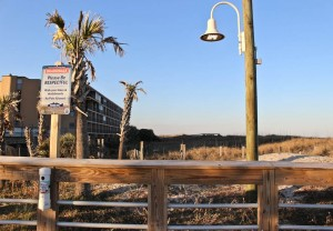 Looking north from the current end of the Carolina Beach Boardwalk at Harper Avenue. Photo by Hannah Leyva.