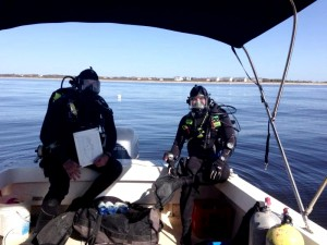 Archaeologist Greg Stratton, right, with East Carolina University grad-student Hoyt Alexander, diving on the recently discovered Civil War-era shipwreck. Photo courtesy of the N.C. Department of Natural and Cultural Resources.