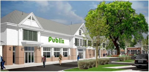 Anchored by a Publix grocery store, the Ogden Marketplace is set to open by summer. Courtesy images.