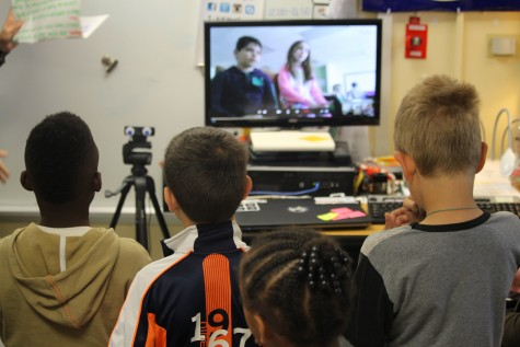Second-graders at Pine Valley Elementary listen to students in Canada via Skype Thursday. The virtual chat was part of a 24-hour 'Skype-a-thon' to connect local classes to those in nearly 30 other countries. Photos by Hilary Snow.