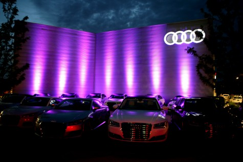 Audi Cape Fear will remained bathed in purple light through Sunday in honor of Prince. Photo by Dave Cain of The Cain Gallery.