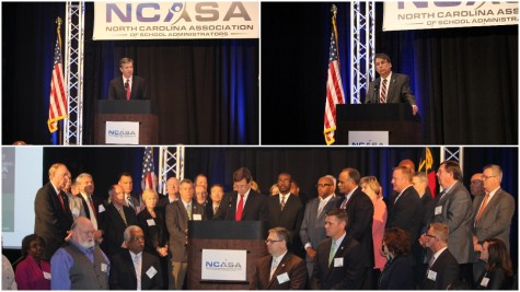 NC Attorney General and gubernatorial candidate Roy Cooper, top left, and incumbent Gov. Pat McCrory sound off Friday on their plans to improve the states public education. The occasion was a press conference called by the NC Association of School Administrators and a group of about 50 superintendents.