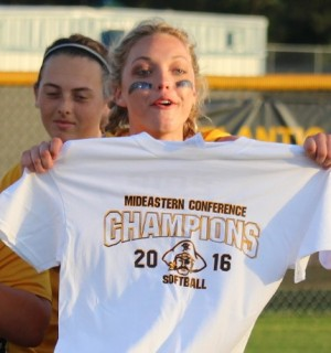 Hayley Grizzle celebrates the conference championship. Photos by Joe Catenacci