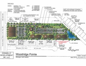 Site plan of Woodridge Pointe apartments, located inthe 5000 block of Carolina Beach Road.