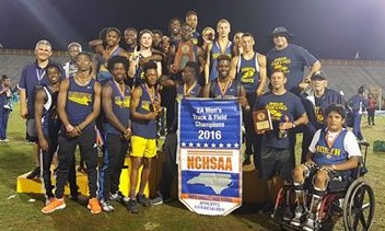 The North Brunswick Track Team celebrating another 2A title. Photo courtesy- Larry Brock Jr.