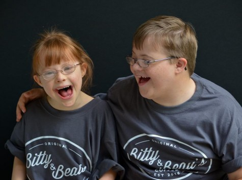 Bitty and Beau Wright sport t-shirts with Beau's Coffee's new name and logo. Beau asked that his sister, who also has Down Syndrome, share the name of the shop the pair inspired. Courtesy photos.