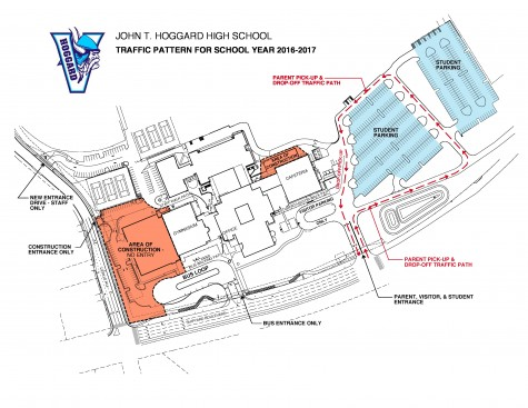 A site plan for Hoggard High School shows a new traffic pattern during construction of a new 1,600 gym. Work listed in the 2014 bond referendum is underway at all of the county's traditional high schools. Courtesy images.