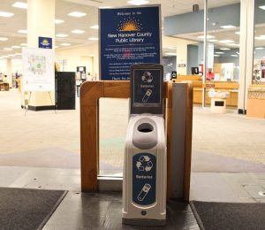 One of community battery recycling points, located at the main New Hanover County Library in downtown Wilmington. Photo by Hannah Leyva.