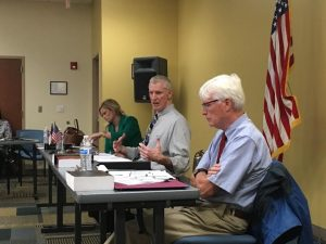The New Hanover County Board of Elections discussing one-stop voting on Thursday. Photo by Hannah Leyva.