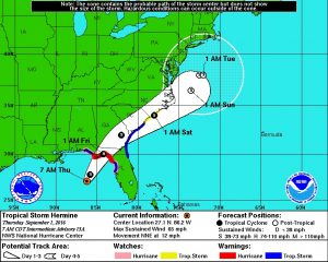 The predicted track of Tropical Storm Hermine as of Thursday morning. Courtesy of the National Weather Service.