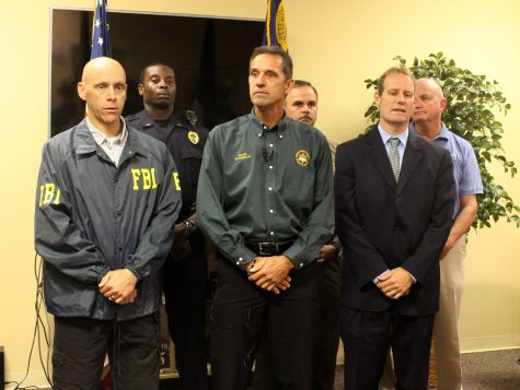 New Hanover County Sheriff Ed McMahon (center) announced during a press conference Thursday, an abducted 6-year-old girl had been found. (Photo by Christina Haley.)