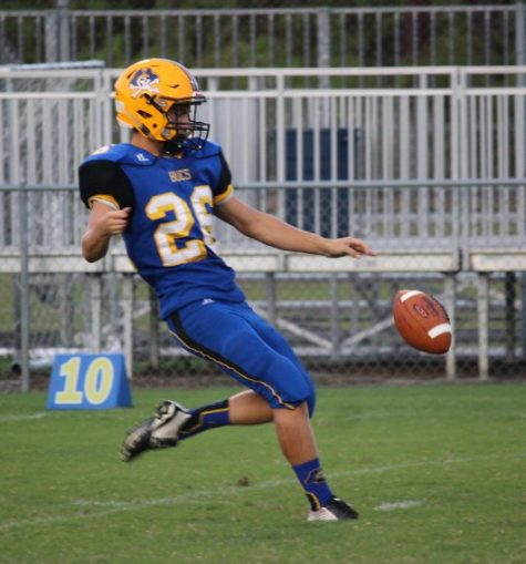 Laney punter James Hoffman had a busy first half.