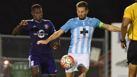 Liam Miller, right, grab an assist in Wednesday's win. Photo courtesy- Wilmington Hammerheads FC.