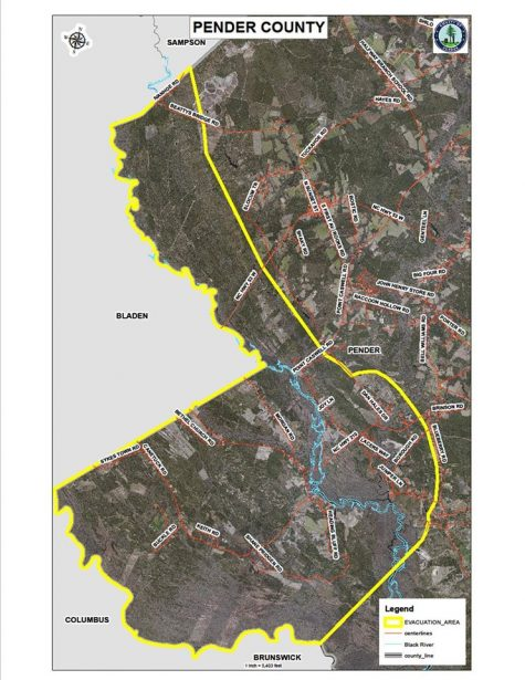 Evacuation area at the Black River Basin in Pender County. (Photo courtesy of emergency management.)