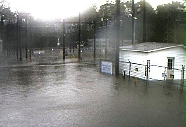 A screenshot provided by the Brunswick Electric Membership Corporation shows the Whiteville substation during Hurricane Matthew.