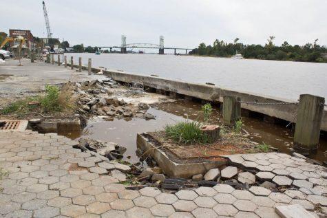 A bulkhead on Wilmington's Riverwalk failed as a result of Tropical Storm Hermine in September. Photo by Hannah Leyva.
