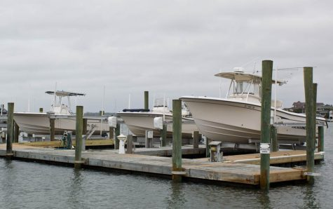 Boats in the Intracoastal Waterway in Wrightsville beach were lifted out of the water in preparation for Hurricane Matthew. Photo by Hannah Leyva.