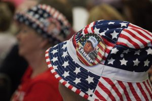 The hat of a Donald Trump supporter during Mike Pence's Wilmington rally on Tuesday. (Photo by Hannah Leyva.)