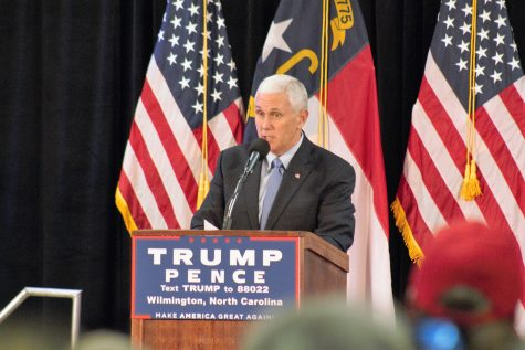 Republican vice presidential candidate Mike Pence held a rally in downtown Wilmington on Tuesday afternoon. (Photo by Hannah Leyva.)