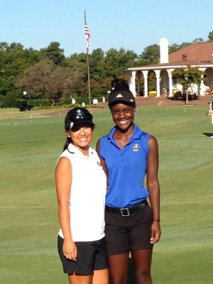 Caroline Cahill, left, and Jayla Rogers will both compete in the 4A state championship. Photo courtesy- Laney Golf