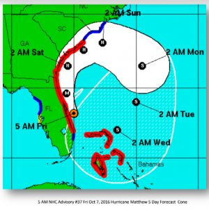 The latest map from the National Weather Service tracks Hurricane Matthew a bit further north.