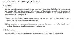 The portion of the Coast Guard and Maritime Transportation Amendments Act of 2016 regarding the damaged Wilmington bulkhead.