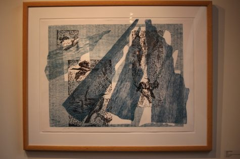 "Janette Hopper ""Wings"" linocut, wood grain, chine-colle print on paper"