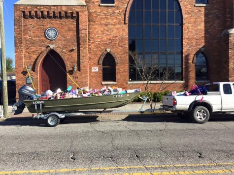 Toys from last year's show filled a boat.