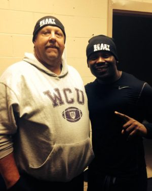 Hall of Famers Chip Adams, left, and Terance Williams wearing Williams' Beast Behavior brand.