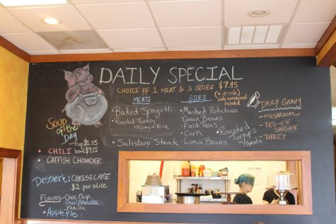 Chop's Diner has new daily specials each day on the blackboard.
