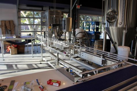 Construction is mostly completed on the Wrightsville Beach Brewery's canning machine.