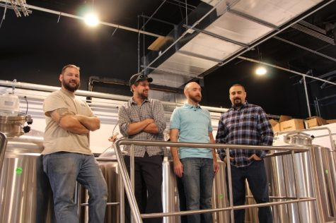 From left to right: Director of Brewing Operations, Kevin Zelnio, Owner Jud Watkins, Assistant Manager Anthony Palermo and General Manager Rich Grant.