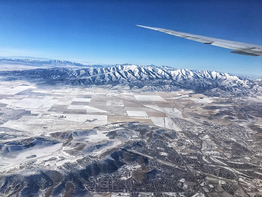 Flying over the Rocky Mountains.